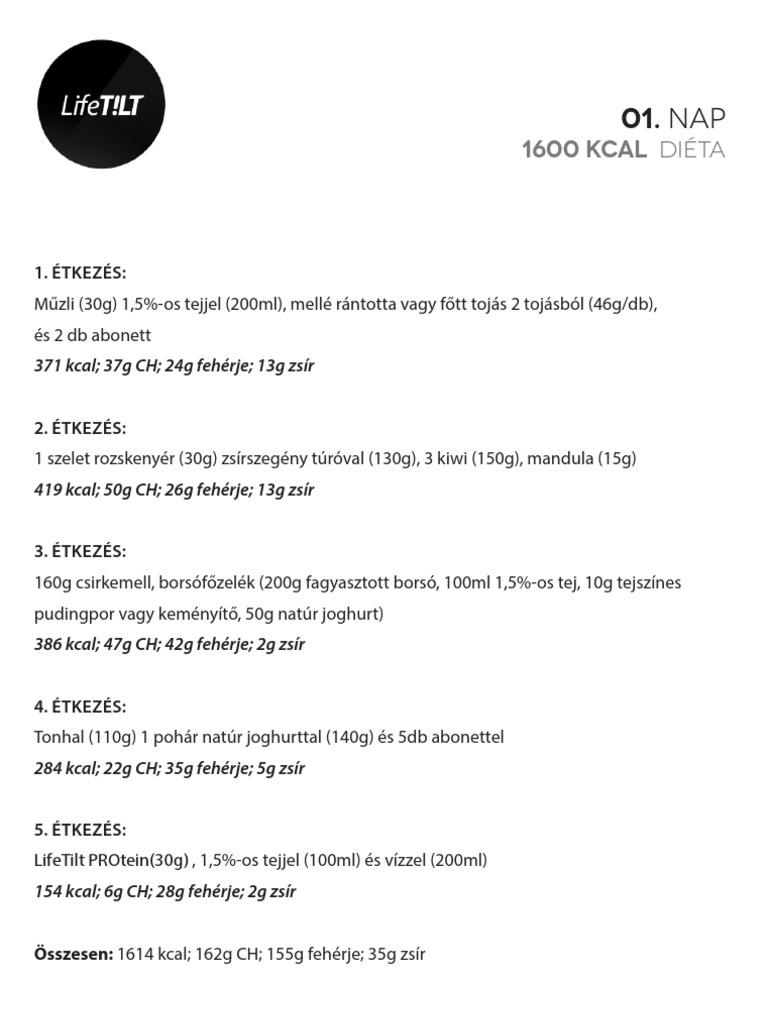 1600 kalóriás mintaétrend)